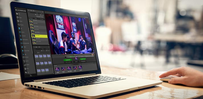 Blackbird browser-based video editor running on a laptop