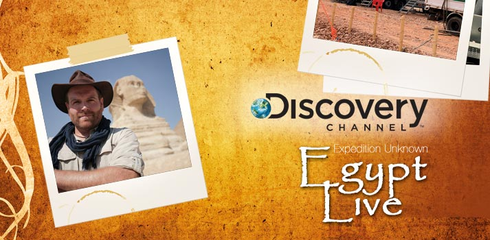 Opening image of the Expedition Unknown Egypt Live report by TM Broadcast International