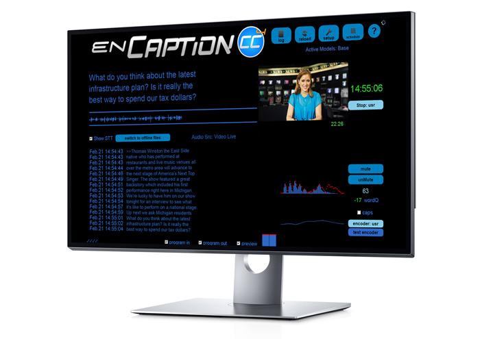 Enco enCaption 4 User Interface in a monitor