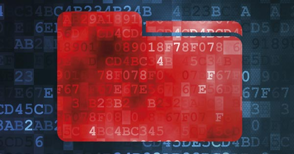 Red directory over blue unicode data