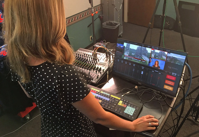 JVC ProHD Studio 4000S deployed by an operator at a WFIE studio