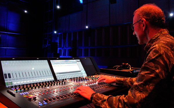 Ludger Bruemmer using a Lawo IP console at ZKM