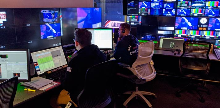 Production control room at Ross Video offices at United Center Chicago