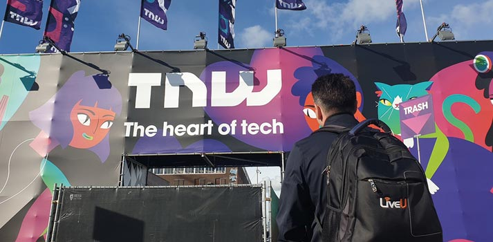 Operator with a LiveU streaming unit in TNW Event