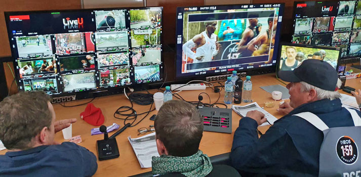Control room with a multiviewer of LiveU feeds