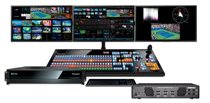 Video production system by Newtek supported by Matrox Extio 3