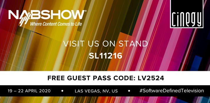 Cinegy guest pass 2020 NAB Show