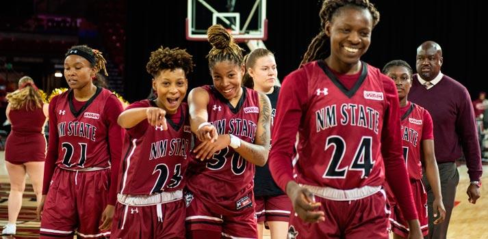 Basketball players at NMSU