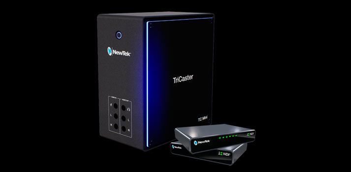 Angle view of the Tricaster Mini NDI Powered techonology by NewTek