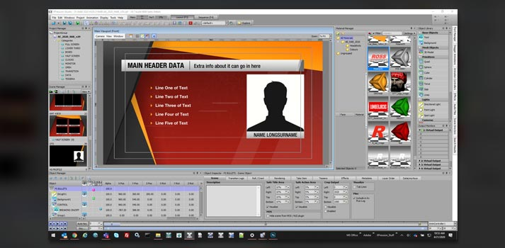 User interface of Ross Video's Xpression with sport graphics resources