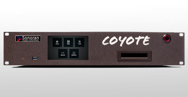 Coyote Playback System integrates the AJA's KONA 5. View of the Sonoran Video Systems' hardware