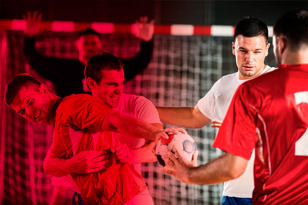 Handball production with red tones