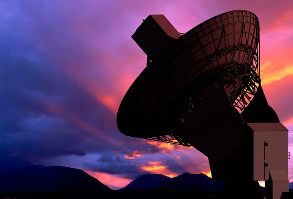 Stock image of a Satellite during sunset