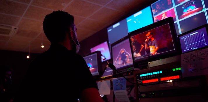 Control room at betevé, broadcasters of the Festival Grec 2020 who have benefit from TVU RPS capabilities