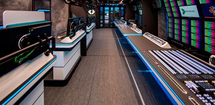 Control room at Broadcast Solutions's UHD 2 OB Van for HD Broadcast