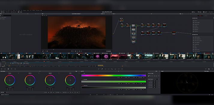 User interface of Blackmagic Design's DaVinci Resolve Studio - Project: Spides