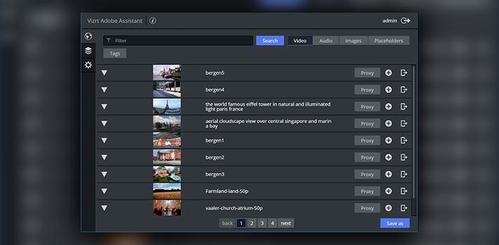 User interface of Vizrt Adobe Assistant