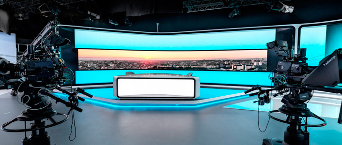 bTV Studio with Vinten and Autoscript equipment by Vitec