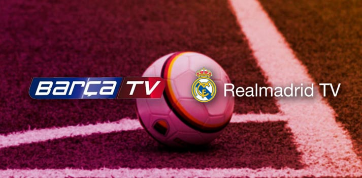 Logos of Barcelona and Real Madrid Television